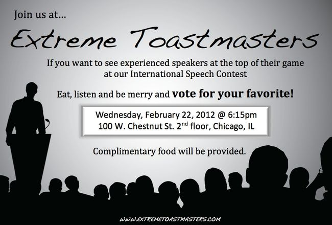 Extreme Toastmasters Speech Contest